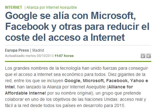 Google se alía con Microsoft  Facebook y otras para reducir el coste del acceso a Internet   Navegante   elmundo.es